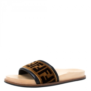 Fendi Zucca Velvet Flat Slides Sandals Size 42
