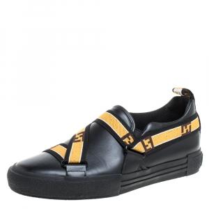 Fendi Black Leather Logo Elastic Strap Slip On Sneakers Size 42