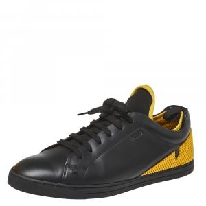 Fendi Black/Yellow Leather And Mesh Corner Bugs Low Top Sneakers Size 44