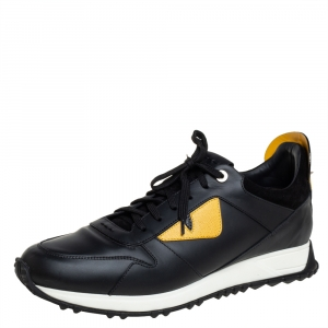 Fendi Black/Yellow Leather Bag Bugs Spiked Low Top Sneakers Size 43