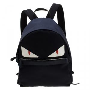 Fendi Navy Blue Nylon And Leather Bag Bugs Backpack