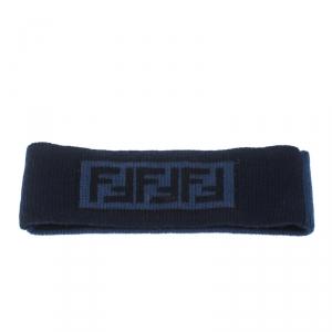 Fendi Blue Zucca Patterned Jacquard Cashmere Wool Headband