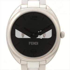 Fendi Black Stainless Steel Momento Bugs Men's Wristwatch 34 MM