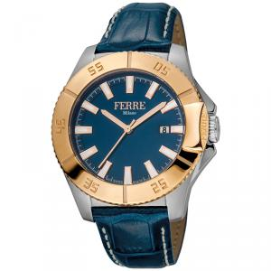 Ferre Milano Blue Rose Gold Plated Stainless Steel FM1G085L0031 Men's Wristwatch 45MM