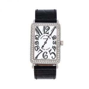 Franck Muller White Dial 18K White Gold Diamonds Long Island White Magic 1000 SCD Unisex Wristwatch 30 mm