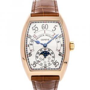Franck Muller Silver 18K Rose Gold Curvex Day/Night 7880 H IR L Men's Wristwatch 35.5 x 42 MM