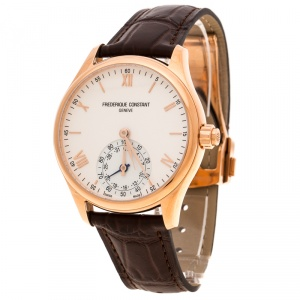 Frederique Constant Silver White Dial Rose Gold Plated Horological Smart FC-285V5B4 Men's Wristwatch 42 mm