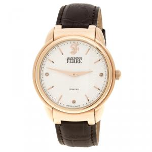 Gianfranco Ferre White Rose Gold-Plated Steel Men's Wristwatch 40MM