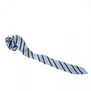 Giorgio Armani Ink Well Blue Silk Contrast Diagonal Striped Tie