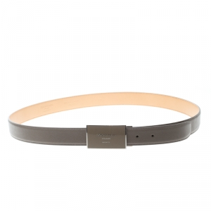 Giorgio Armani Beige Saffiano Leather Plate Buckle Belt One Size