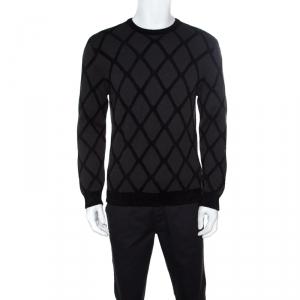 Giorgio Armani Dark Grey Diamond Patterned Wool Crew Neck Sweater L