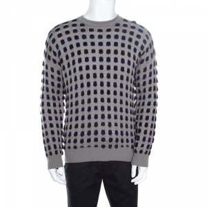 Giorgio Armani Grey Textured Dotted Sweater XL