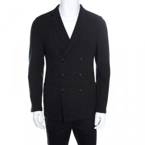 Giorgio Armani Dark Grey Textured Wool Double Breasted Jacket L