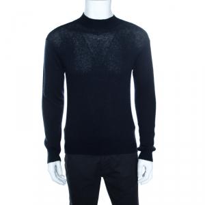 Giorgio Armani Navy Blue Cashmere and Silk Knit High Neck Sweater M