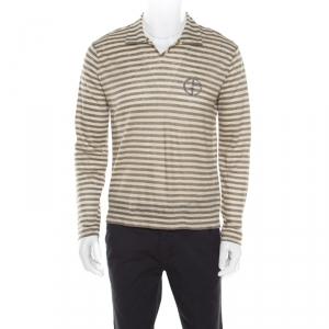 Giorgio Armani Sage Green Linen Striped Jersey Polo T-Shirt 3XL