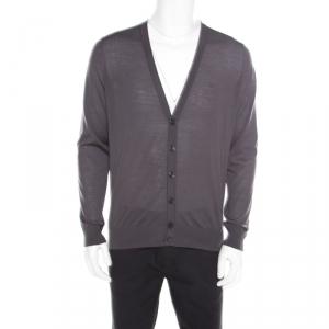 Giorgio Armani Grey Wool Cardigan XL