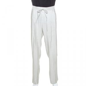 Giorgio Armani Pale Grey Linen Silk Blend Wide Leg Pants M