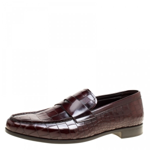 Giorgio Armani Maroon Croc Embossed Leather Penny Loafers Size 43.5