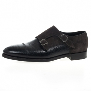 Giorgio Armani Monkstrap Suede & Leather Shoes Size 43.5