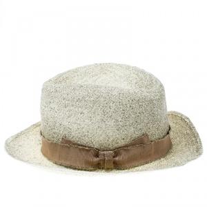 Giorgio Armani Cream Coated Straw Woven Panama Hat Size 59
