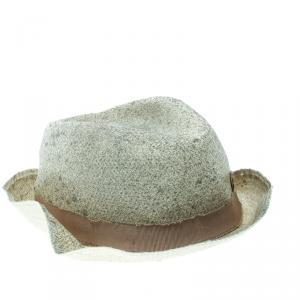 Giorgio Armani Cream Coated Straw Woven Panama Hat Size 58