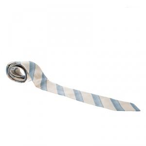 Giorgio Armani Beige and Blue Diagonal Striped Silk Traditional Tie