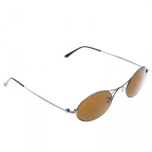 Giorgio Armani Gunmetal/ Brown AR6018-T Oval Sunglasses