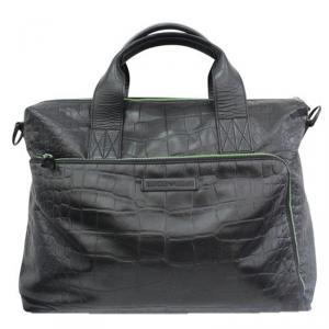 Giorgio Armani Black Croc Embossed Leather Weekender Bag