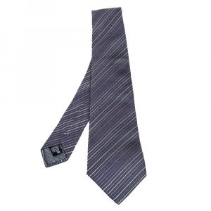 ربطة عنق جورجيو أرماني مزخرفة خطوط مائلة رصاصي