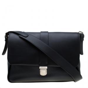 Giorgio Armani Navy Blue Leather  Limited Edition Bugatti Messenger Bag
