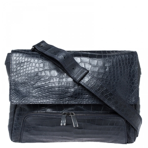 Giorgio Armani Navy Blue Croc Embossed Leather Messenger Bag