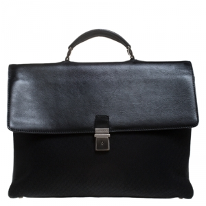 Giorgio Armani Black Fabric and Leather Laptop Briefcase Bag