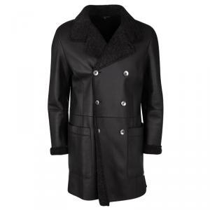 Giorgio Armani Brown Shearling Lined Mutton Leather Over Coat XL