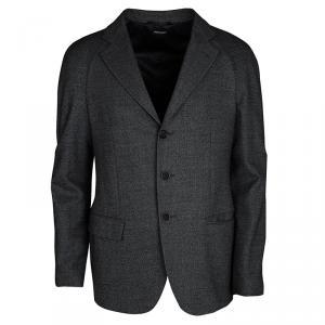 Giorgio Armani Black Textured Wool Blend Raglan Sleeve Blazer XL