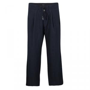 Giorgio Armani Navy Blue Linen Tie Detail Wide Leg Pants L