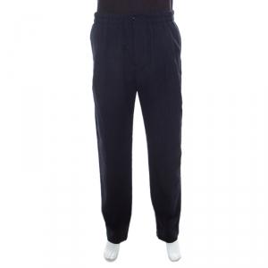 Giorgio Armani Navy Blue Seersucker Wool Elasticized Waist Tapered Trousers XXL