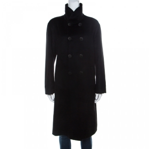 Giorgio Armani Black Cashmere Stand Collar Double Breasted Coat M