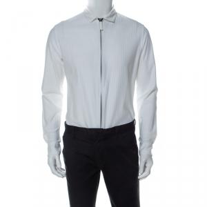 Giorgio Armani White Textured Cotton Zip Front Shirt M