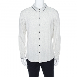 Giorgio Armani Light Grey Jersey Button Front Long Sleeve Shirt 3XL