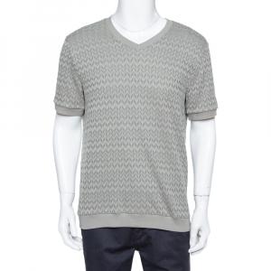 Giorgio Armani Grey Chevron Knit Short Sleeve Sweater 2XL - used