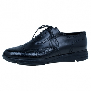 Giorgio Armani Black Croc Embossed Oxfords Size 43