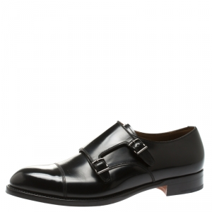 Giorgio Armani Black Leather Monk Strap Oxfords Size 44