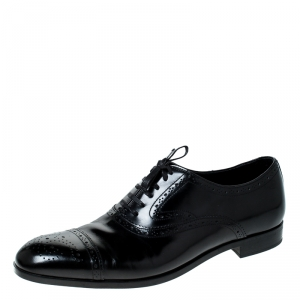 Emporio Armani Black Brogue Leather Oxfords Size 43.5