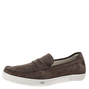 Giorgio Armani Brown Suede Slip On Sneakers Size 41