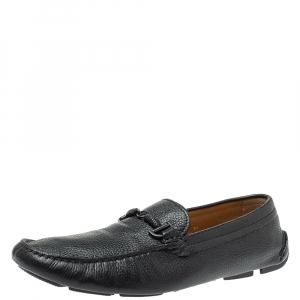 Giorgio Armani Black Leather Braided Bit Slip On Loafers Size 43.5