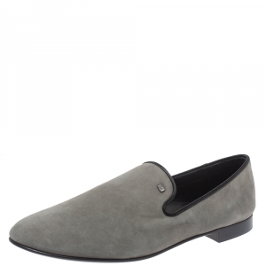 Giuseppe Zanotti Grey Suede Leather Slip On Smoking Slippers Size 44