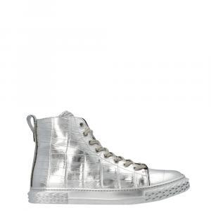 Giuseppe Zanotti Silver Crocodile Print Leather Blabber High Top Sneakers Size EU 44