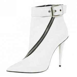 Giuseppe Zanotti White Leather Asymmetrical Zip Ankle Boots Size 38