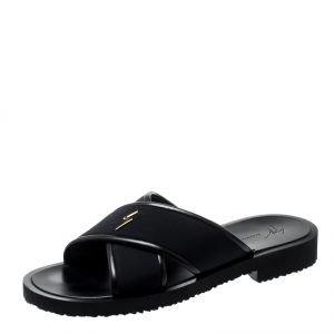 Giuseppe Zanotti Black Fabric And Leather Trim Slides Size 42