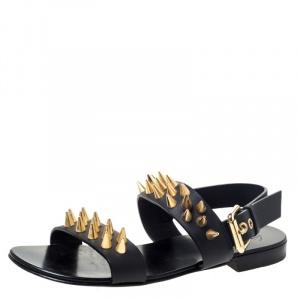 Giuseppe Zanotti Black Leather Zak Spike Flat Sandals Size 41